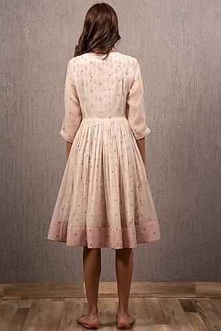 Blush Pink Printed & Embroidered Angrakha Dress by Gazal Mishra