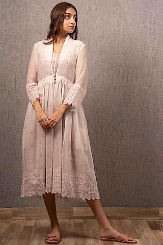 Blush Pink Printed & Embroidered Jacket Dress by Gazal Mishra