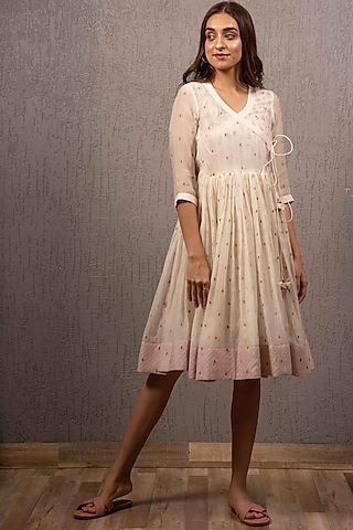 White Digital Printed Angrakha Dress by Gazal Mishra