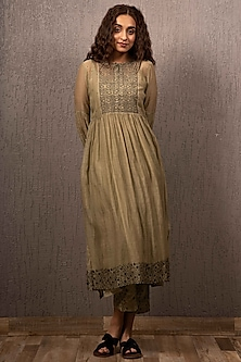 Olive Green Embroidered Kurta With Inner by Gazal Mishra