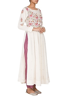 Off White Embroidered Kurta With Wine Pants by Gazal Mishra