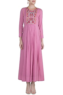 Pink Embroidered Silhouette Dress by Gazal Mishra-BEST SELLERS