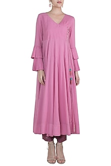 Pink Embroidered Angrakha Kurta by Gazal Mishra