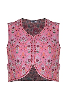 Pink Thread Embroidered Jacket by Gazal Mishra