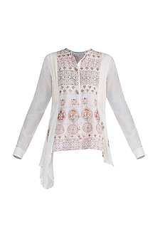 Off White Embroidered Shirt by Gazal Mishra