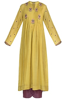 Mustard Embroidered Kurta With Pants by Gazal Mishra