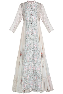 Off White Thread Embroidered Handcrafted Dress by Gazal Mishra