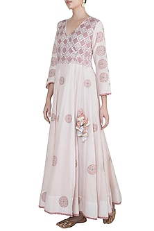 Blush Pink Embroidered Angrakha Kurta by Gazal Mishra