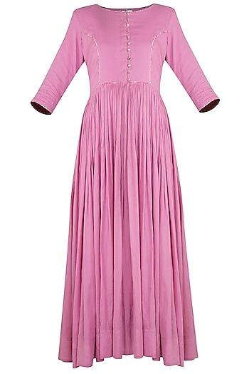 Pink Cotton Mulmul Midi Dress by Gazal Mishra