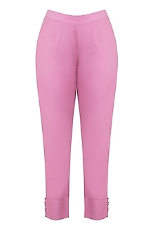 Pink Cotton Mulmul Pants by Gazal Mishra