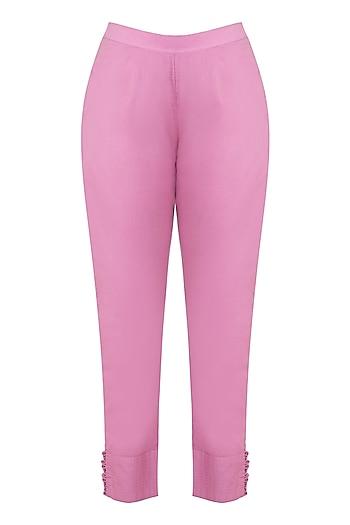 Pink Cotton Mulmul Pants by Gazal Mishra