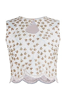 Off White Hand Embroidered Blouse by Gazal Mishra