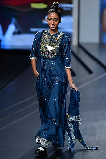 Navy Embroidered Pleated Jumpsuit With Scarf by Gazal Mishra