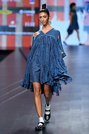 Navy Blue Embroidered Short Frilled Dress by Gazal Mishra