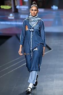 Navy Blue Embroidered Kurta Set With Scarf by Gazal Mishra