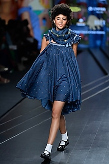 Navy Blue Embroidered Gathered Dress With Scarf by Gazal Mishra