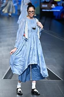 Sky Blue Embroidered Dress With Jacket & Pants by Gazal Mishra