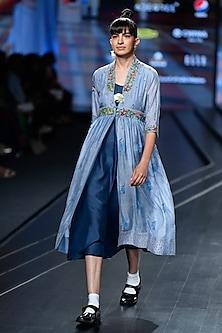 Sky Blue Embroidered Jacket Dress by Gazal Mishra