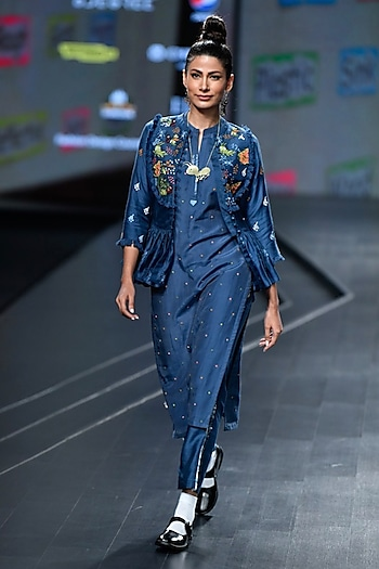 Navy Blue Embroidered Kurta With Jacket & Pants by Gazal Mishra