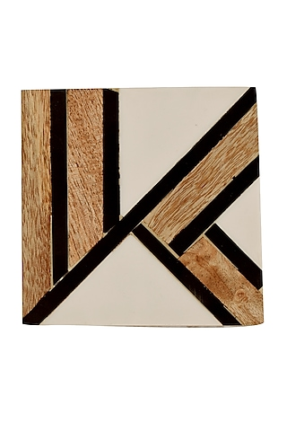 White Resin & Wooden Coasters by Happier Homes