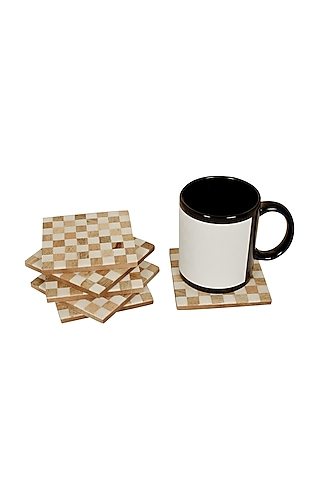 White Wooden Coasters by Happier Homes
