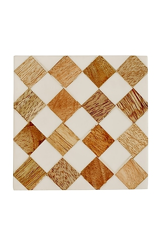 White MDF & Resin Coasters by Happier Homes