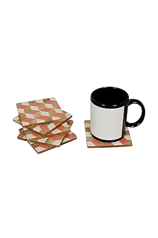 White & Brown Wooden Coasters by Happier Homes