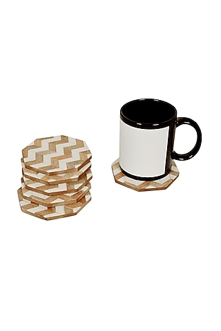 White MDF & Wooden Coasters by Happier Homes