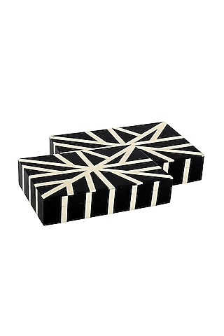 White Decorative Box In Resin by Happier Homes