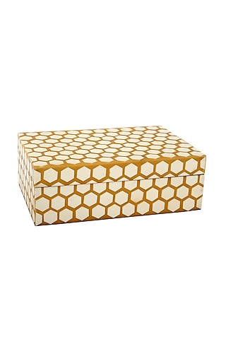 Brown & White Decorative Box In Resin by Happier Homes