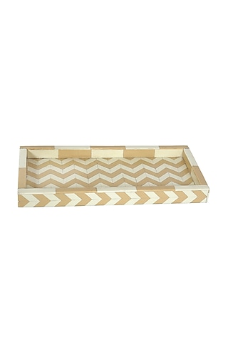 Brown & White Resin Decorative Tray by Happier Homes