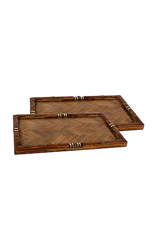 Brown Wooden Decorative Tray by Happier Homes