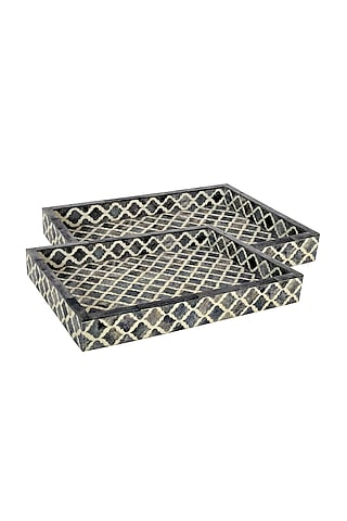Black Wooden Decorative Tray by Happier Homes