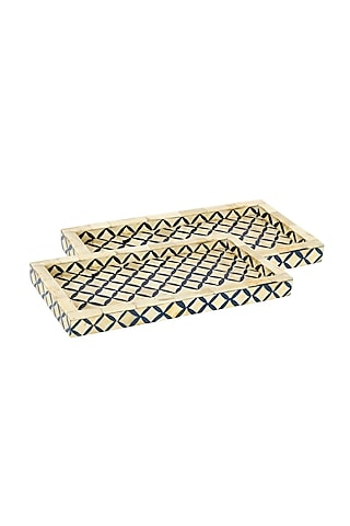 Blue Wooden Decorative Tray by Happier Homes