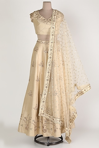 Beige Embroidered Lehenga Set by Himani And Anjali Shah