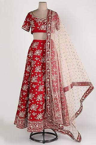 Maroon Embroidered Lehenga Set by Himani And Anjali Shah