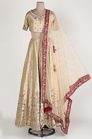 Beige Zardosi Embroidered Lehenga Set by Himani And Anjali Shah