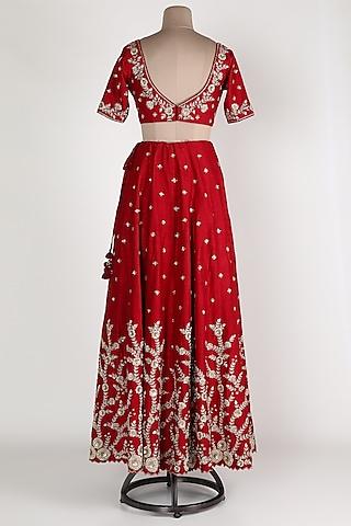 Maroon & Beige Zardosi Embroidered Lehenga Set by Himani And Anjali Shah