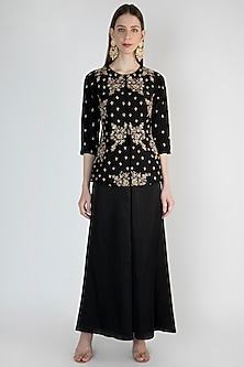 Black Embroidered Jacket With Flared Pants by Hash