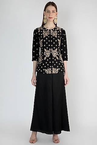 Black Embroidered Jacket With Flared Pants by Himani And Anjali Shah