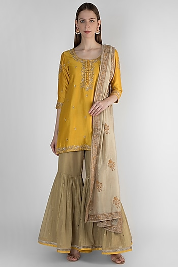 Mustard Yellow & Beige Embroidered Printed Kurta Set by Himani And Anjali Shah