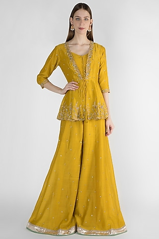 Mustard Yellow Peplum Jacket With Bustier & Flared Pants by Himani And Anjali Shah