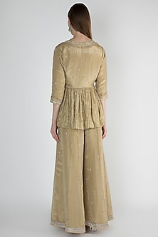 Gold Embroidered Peplum Top With Inner & Pants by Himani And Anjali Shah