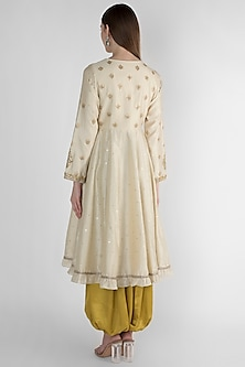 White Embroidered Kurta With Ochre Dhoti Pants by Himani And Anjali Shah