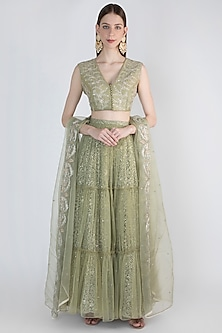 Sage Green Embroidered Lehenga Set by Himani And Anjali Shah