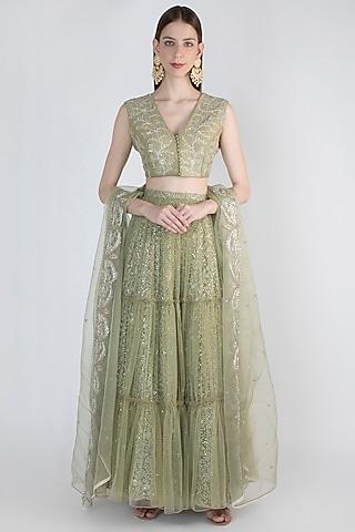 Sage Green Embroidered Lehenga Set by Himani And Anjali Shah