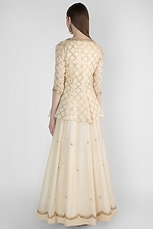 Ivory Embroidered Anarkali With Peplum Jacket by Himani And Anjali Shah