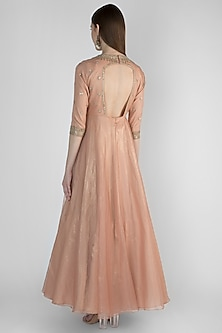 Mauve Embroidered Anarkali With Nude Pink Dupatta by Himani And Anjali Shah