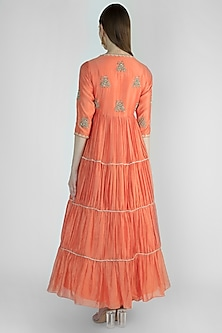 Coral Orange Embroidered Anarkali With Beige Dupatta by Himani And Anjali Shah