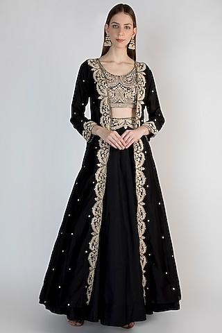 Black Embroidered Jacket Lehenga Set by Himani And Anjali Shah